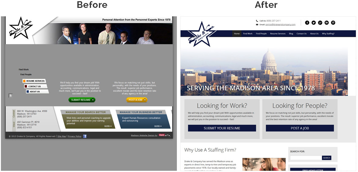 Before & After Screenshot of Drake & Company's Home Page