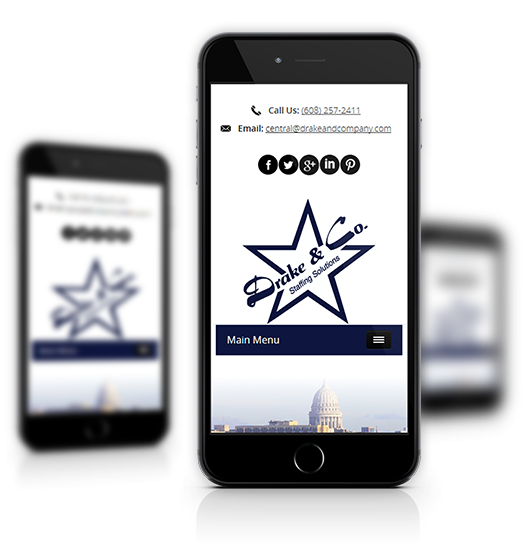 Mobile View of Drake & Company's Home Page