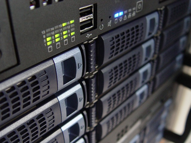 Website hosting servers in a rack
