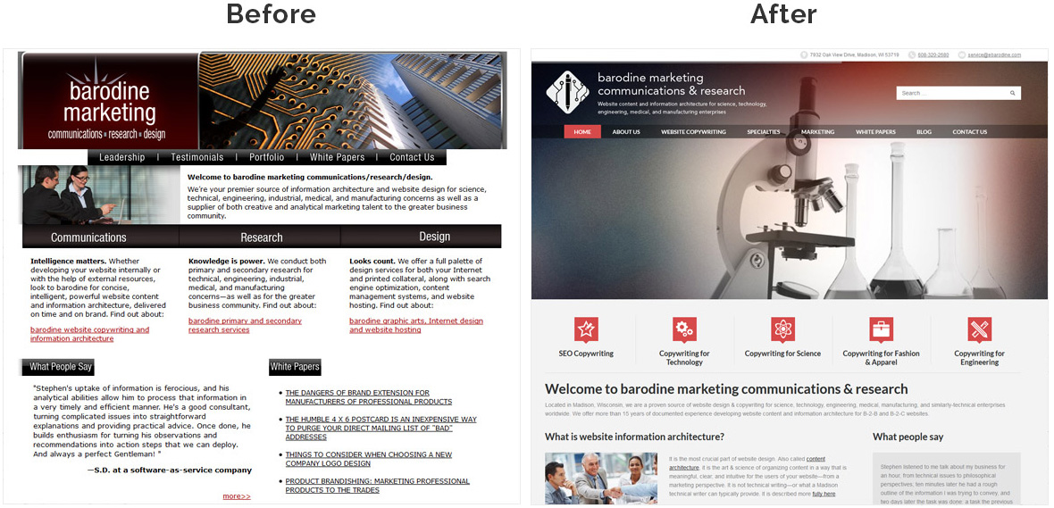Before & After Screenshot of Barodine Marketing Communications & Research's Home Page