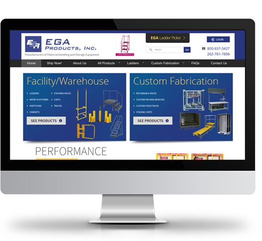 Desktop View of EGA Products's Home Page