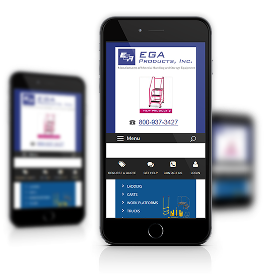 Mobile View of EGA Products's Home Page