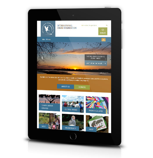 Tablet View of International Crane Foundation's Home Page