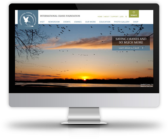 Desktop View of International Crane Foundation's Home Page