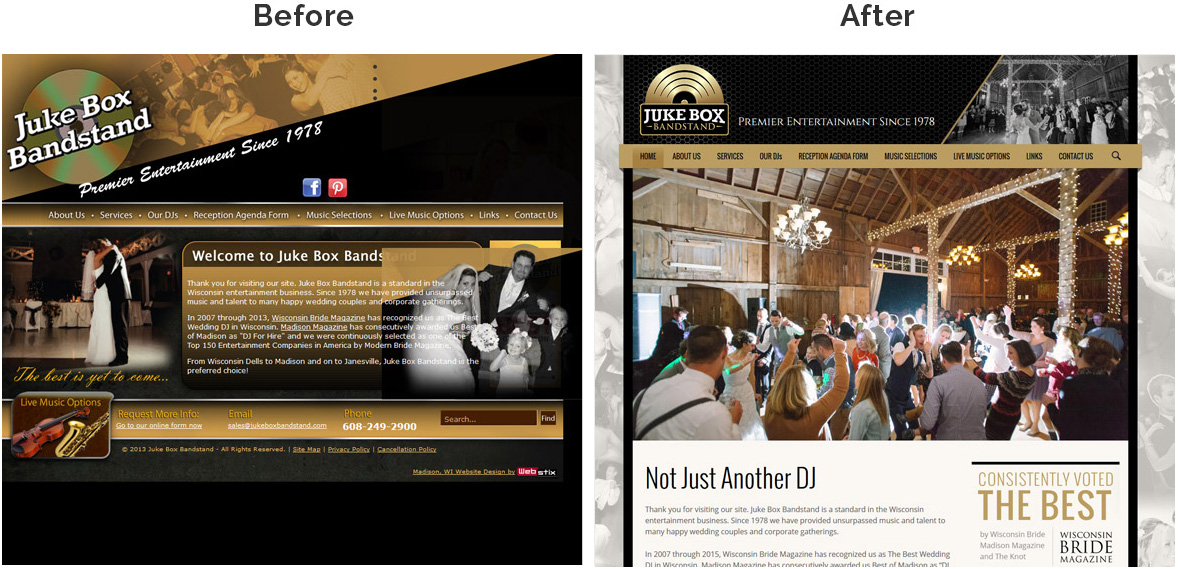 Before & After Screenshot of Juke Box Bandstand's Home Page