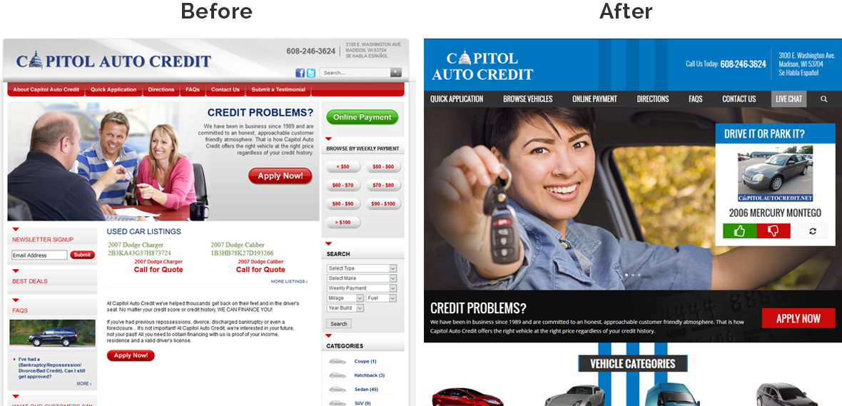 Before & After Screenshot of Capitol Auto Credit's Home Page