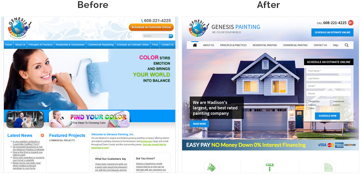 Before & After Screenshot of Genesis Painting's Home Page