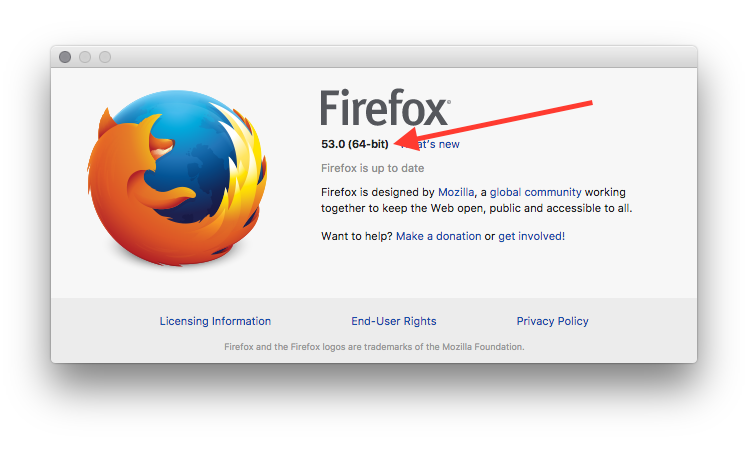 The About screen in Firefox on a Mac