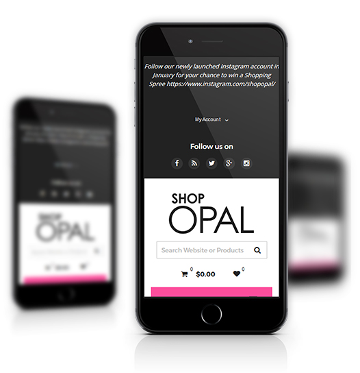 Mobile View of Shop Opal's Home Page
