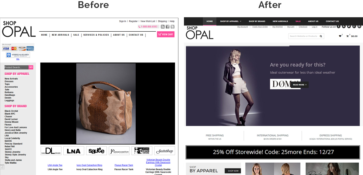 Before & After Screenshot of Shop Opal's Home Page