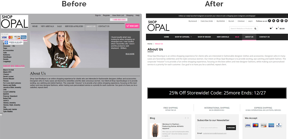 Before & After Screenshot of Shop Opal's Inside Page