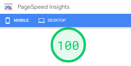 "A ""100"" score on Google PageSpeed."