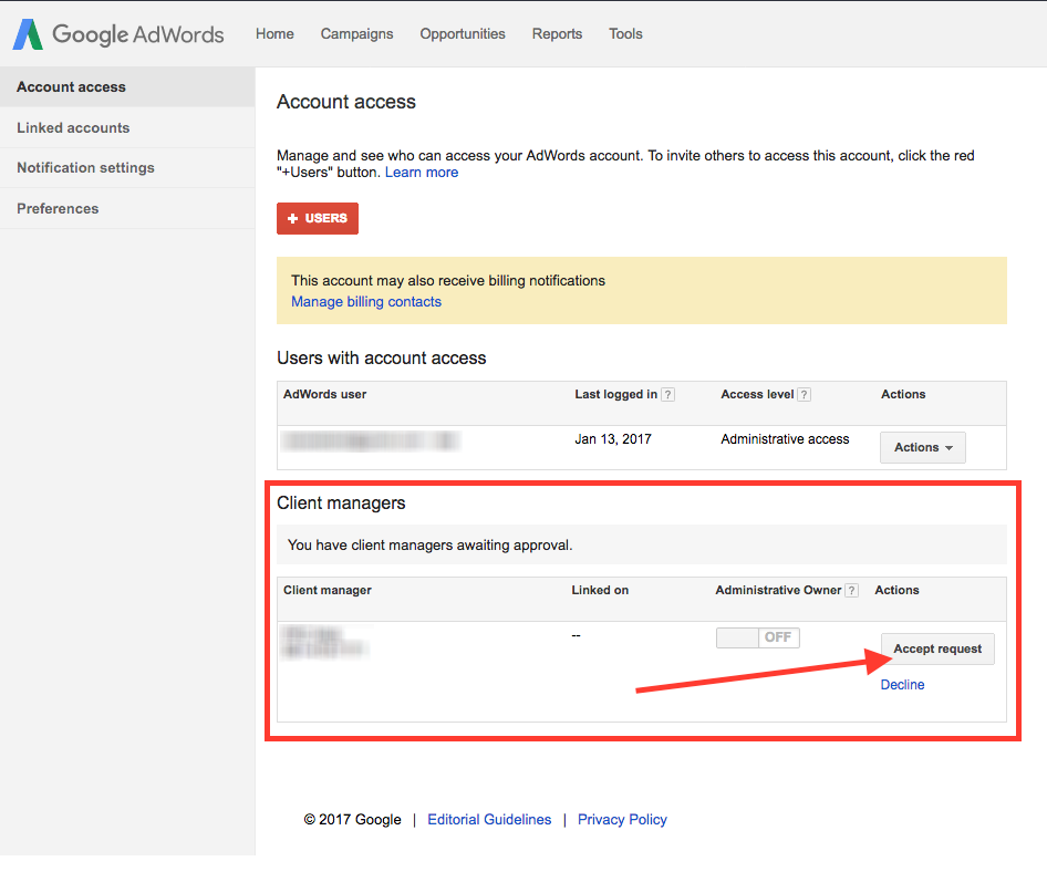 AdWords Approve Request