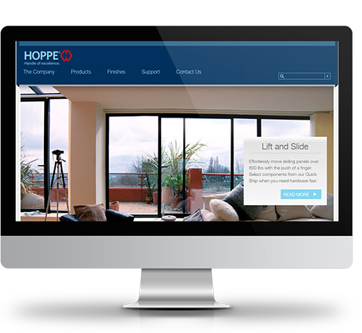 Desktop View of HOPPE North America's Home Page