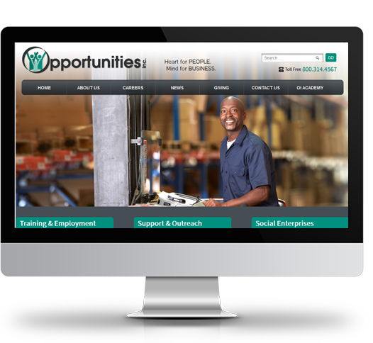 Desktop View of Opportunities, Inc.'s Home Page