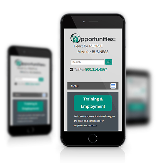 Mobile View of Opportunities, Inc.'s Home Page