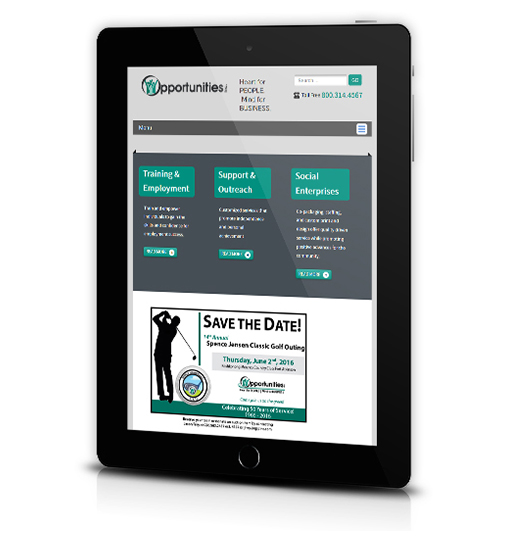 Tablet View of Opportunities, Inc.'s Home Page