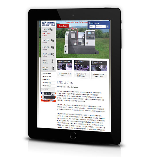 Tablet View of Samsung Machine Tools's Home Page