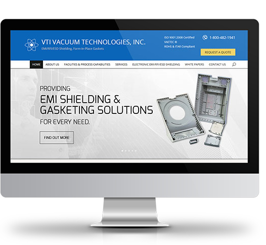 Desktop View of VTI Vacuum Technologies, Inc.'s Home Page