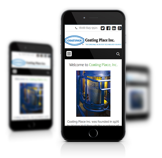 Mobile View of Coating Place's Home Page