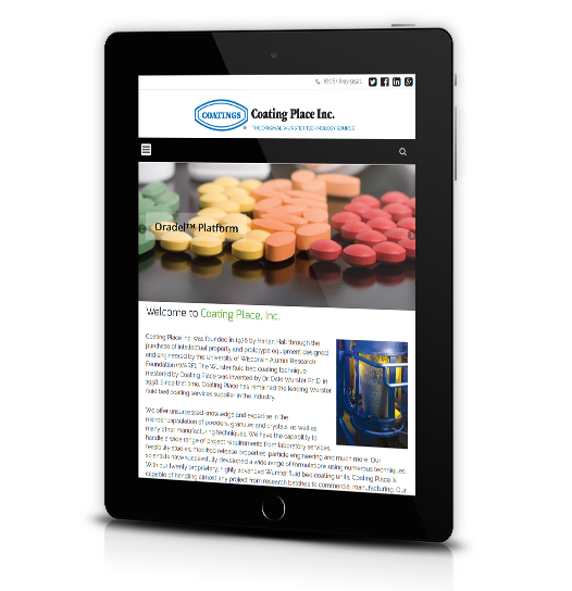 Tablet View of Coating Place's Home Page