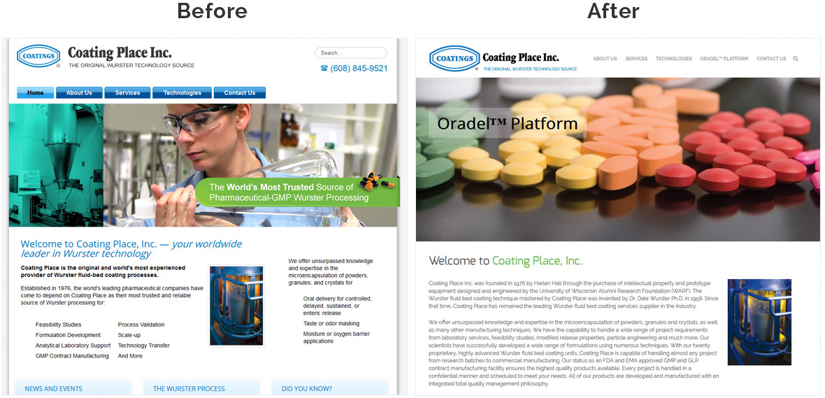 Before & After Screenshot of Coating Place's Home Page