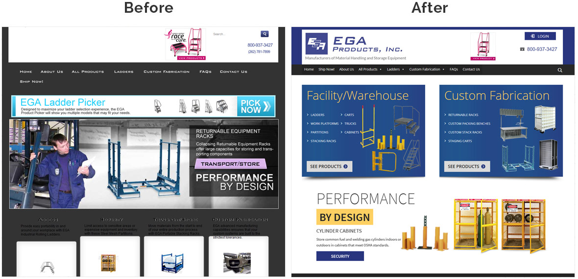 Before & After Screenshot of EGA Products's Home Page