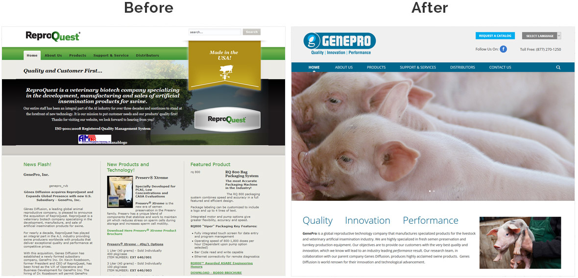 Before & After Screenshot of GenePro's Home Page