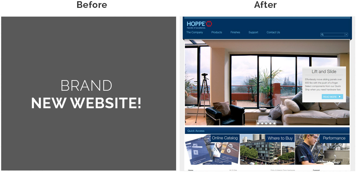 Before & After Screenshot of HOPPE North America's Home Page