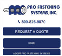 Mobile View of Pro Fastening System's Home Page in thumbnail