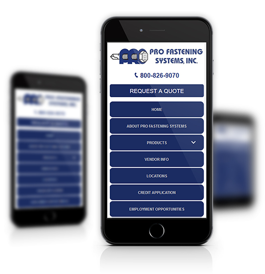 Mobile View of Pro Fastening System's Home Page