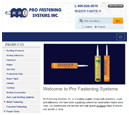 Tablet View of Pro Fastening System's Home Page in thumbnail