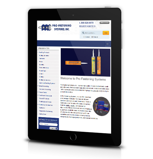 Tablet View of Pro Fastening System's Home Page
