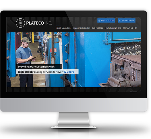 Desktop View of Plateco's Home Page