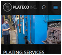 Mobile View of Plateco's Home Page in thumbnail