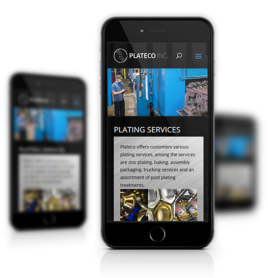 Mobile View of Plateco's Home Page