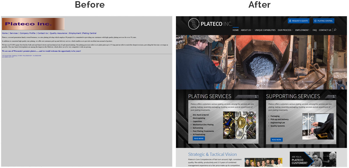 Before & After Screenshot of Plateco's Home Page