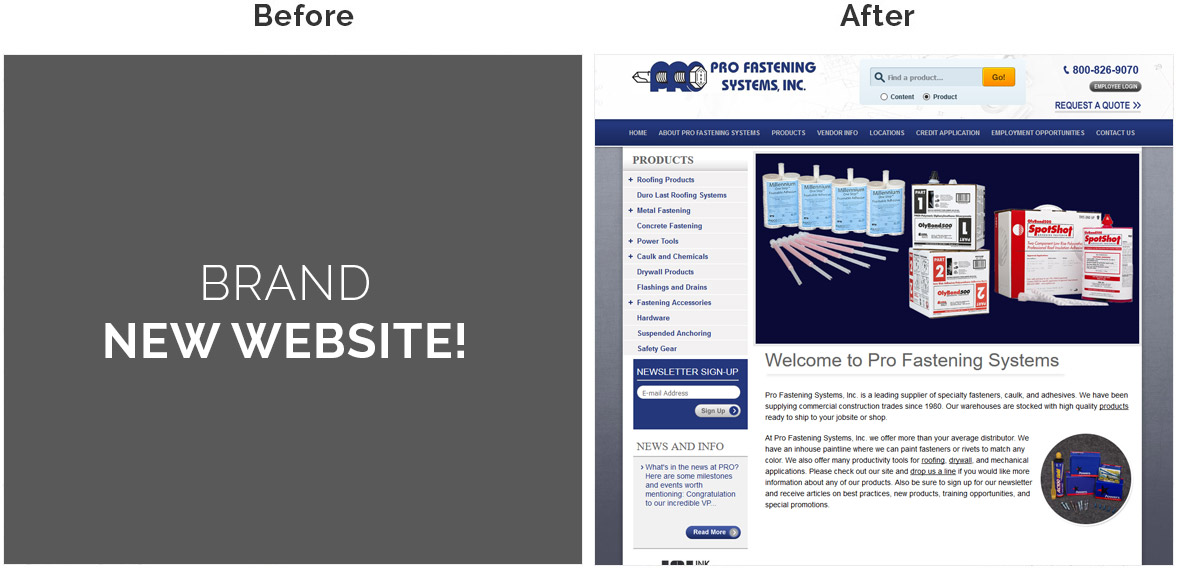 Before & After Screenshot of Pro Fastening System's Home Page
