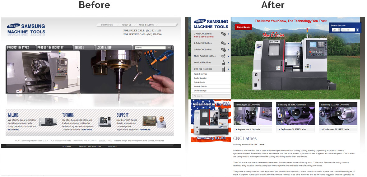 Before & After Screenshot of Samsung Machine Tools's Home Page