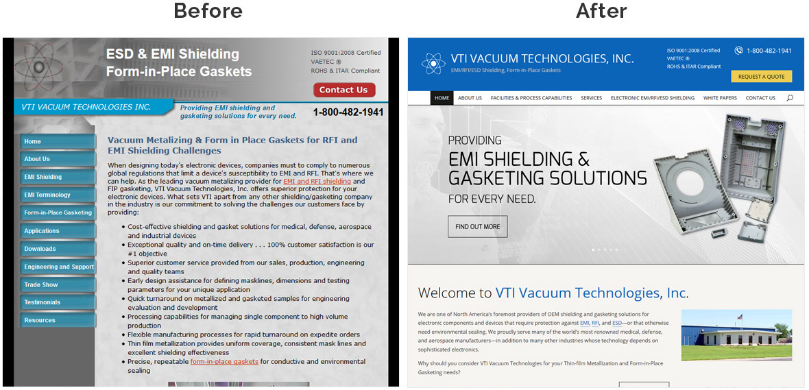 Before & After Screenshot of VTI Vacuum Technologies, Inc.'s Home Page