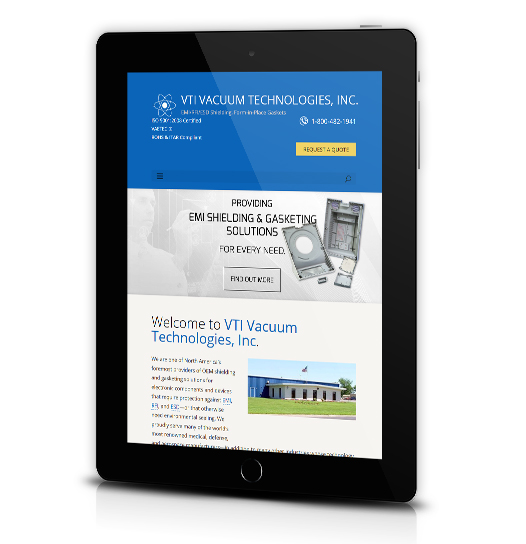 Tablet View of VTI Vacuum Technologies, Inc.'s Home Page
