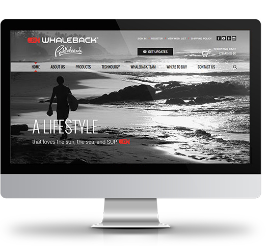 Desktop View of Whaleback Paddleboard's Home Page