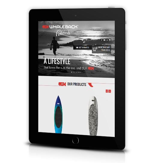 Tablet View of Whaleback Paddleboard's Home Page