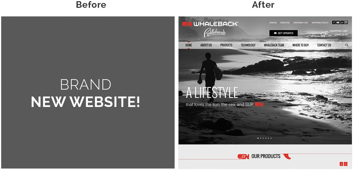 Before & After Screenshot of Whaleback Paddleboard's Home Page