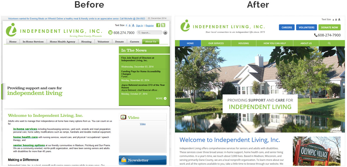 Before & After Screenshot of Independent Living's Home Page