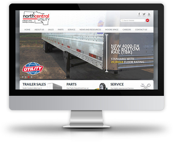 Desktop View of North Central Utility's Home Page