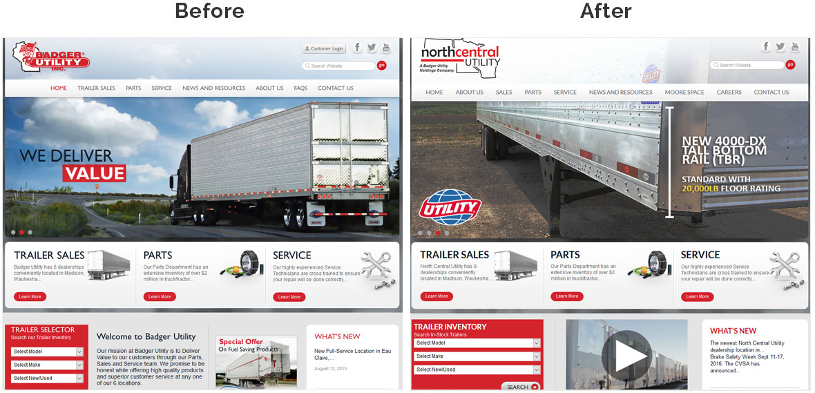 Before & After Screenshot of North Central Utility's Home Page