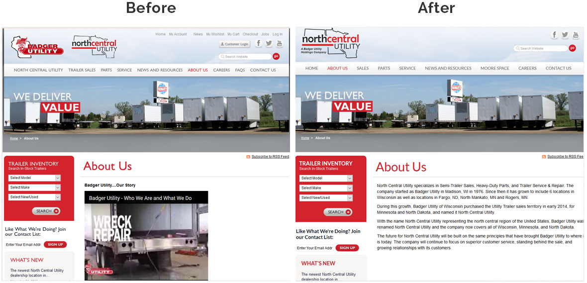North Central Utility Website Before and After