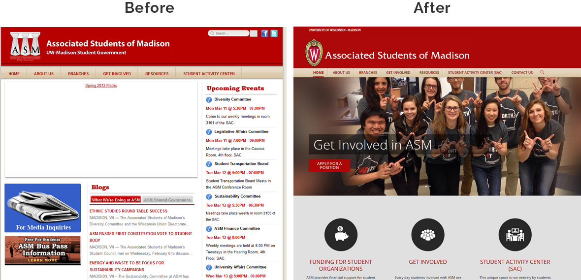 Before & After Screenshot of Associated Students of Madison's Home Page