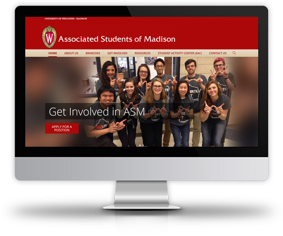 Desktop View of Associated Students of Madison's Home Page